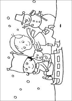 kleurplaat Kerstmis (meer) - Spelen in de sneeuw