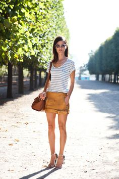Pair a tee with a bright leather mini-skirt // #Fashion #StreetStyle