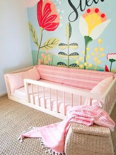"Our most popular floor bed now includes mattress slat supports! Make your toddlers switch from a crib to ""big kid"" bed easy with our railed quality built floor bed! Handcrafted in Ohio, USA. Toddler Floor Bed, Toddler Rooms, Floor Beds For Toddlers, Toddler Girl Beds, Toddler Bedroom Girls, Full Size Toddler Bed, Baby Floor Bed, Toddler Princess Room, Floor Bed Frame"