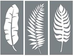 Leaf Stencil Set - Pack of 3 Unique Leaf Wall Stencil Designs for Painting - Use This Leaf Stencil Kit to Update Your Home Decor Wall Stencil Designs, Wall Stencil Patterns, Stencil Templates, Wall Design, Leaf Stencil, Stencil Painting, Fabric Painting, Flower Stencils, Painted Leaves