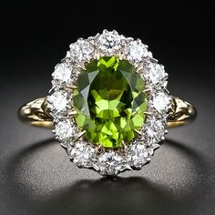 Victorian Style Peridot Diamond Cluster Ring - 30-1-5412 - Lang Antiques