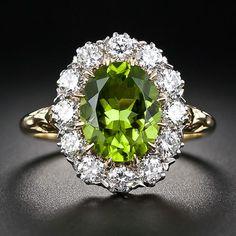 Victorian Style Peridot Diamond Cluster Ring  Birthstone