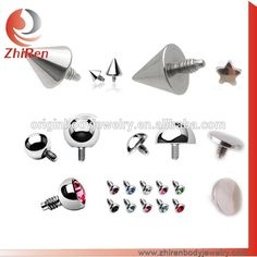 spike,cone,dome,gem ball, flat disco dermal anchor top