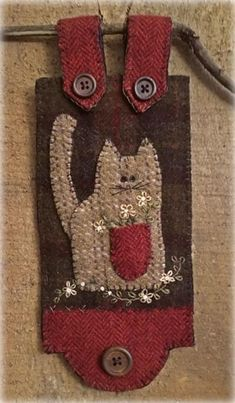 Kitty Cat with a pocket full of Posies Wool Applique Pattern HU 001 - Mabel Penny Rug Patterns, Wool Applique Patterns, Felt Applique, Print Patterns, Primitive Stitchery, Primitive Crafts, Felt Crafts, Fabric Crafts, Wool Embroidery