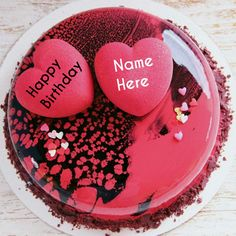 Create Name On Cake Decorated With HeartsRose Flavor Birthday For Love HeartsHappy Wishes CakeCake Celebrations