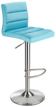 Swank Brushed Steel Kitchen Swivel Bar Stool - Blue