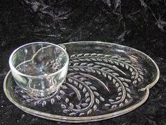 Vintage Federal Glass Homestead Wheat Design Sandwich Dessert Plate Cup Sets(3)