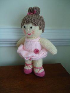 Hand Knit Ballerina Doll  Toy by HandKnitsbyElaine on Etsy, $25.00