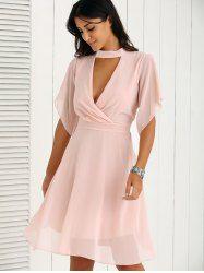 Pleated Petal Sleeve Pink Dress - PINK M