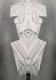 3D Origami Dress with angular pleated construction - sculptural fashion; experimental paper dress // Georgia Hardinge