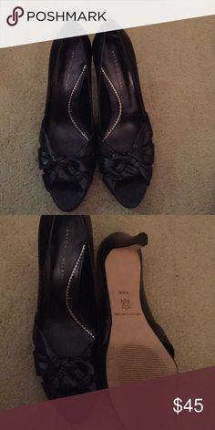 Antonio Melani all leather shoes. Leather upper and soles. Beautiful peek a boo toe pumps in black. 100% goes to charity. ANTONIO MELANI Shoes Heels