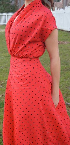 Handmade Vintage Red Day dress, modern small to medium 1950s style day dress, Printed 1950s style day dress with swing style.