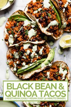 Quinoa & Black Bean Tacos (with Cilantro Lime Crema!) quinoa & black bean tacos (with cilantro lime crema!) - meet your new favorite vegetarian quinoa & black bean tacos recipe! vegetarian (vegan-friendly), 30 minutes, and made with pantry staples! Vegetarian Tacos, Tasty Vegetarian Recipes, Vegan Tacos, Spinach Recipes, Veggie Recipes, Healthy Recipes, Veggie Food, Pork Recipes, Skillet Recipes