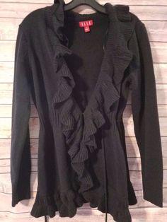 ELLE Ruffle Edge Black Sweater Cardigan Mini Frog Closures Women's Size Medium M #ELLE #SweaterCardigan #Everyday