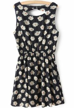 Navy Sleeveless Floral Backless Pleated Dress pictures