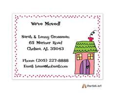 Starfish Art Pink House Dots Moving Card