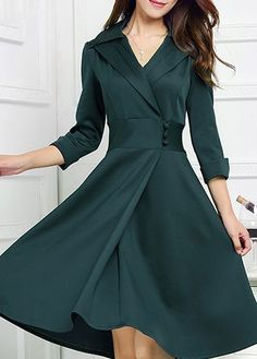 Turndown Collar Deep Green Button Design Dress with cheap wholesale price, buy Turndown Collar Deep Green Button Design Dress at Rotita.com !