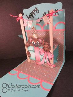 I Brake For Stamps Shy Bear pop up birthday card.