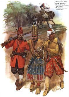 OttomanTurks2 (1) tatar  Lévantin.Fin XVI ème siècle. 2- Sekbanbashi, officier du corps des Sekban. 3- Azap, XVI et XVII ème siècle. Certains manuscrits suggèrent des caftans verts, mais il est fortement probable qu'il y ait eu de nombreuses variations de couleurs.