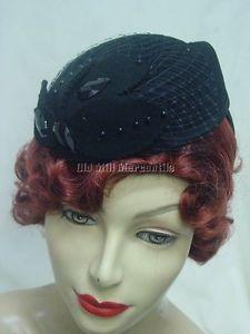 Pillbox 1930s 1940s Style Womens Facinator Black Lwool Felt Hat Dorfman Pacific | eBay