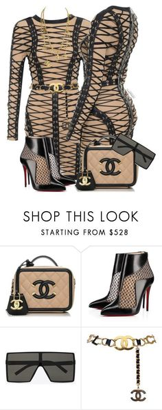 Untitled #1731 by styledbyjovonxo ❤ liked on Polyvore featuring Christian Louboutin, Yves Saint Laurent and Chanel