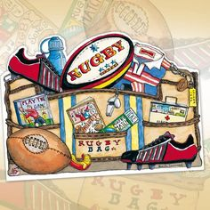 'Rugby Bag' NEW die-cut greetings card by Amanda Loverseed exclusively from Phoenix Trading - full range available to view at www. - contact me to order Rugby Games, Rugby Sport, Stationery Companies, Purchase Card, Kids Sports, Diy Cards, Trading Cards, Note Cards, Christmas Cards