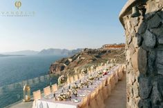 We want one long table along the balcony of the villa. Beach Wedding Reception, Santorini Wedding, Greek Wedding, Hotel Wedding, Reception Table Decorations, Reception Ideas, Santorini Hotels, Wedding Dreams, Balcony