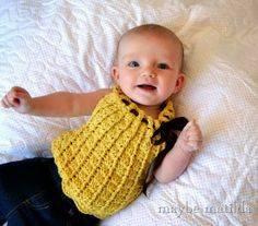 Sweetest Ever Crochet Baby Top! Pattern by Holland Designs, made with @Lion Brand Cotton Bamboo.
