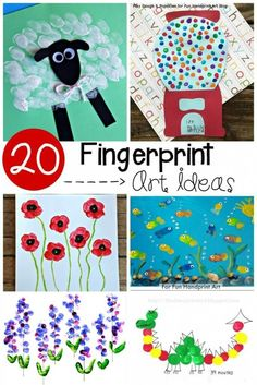 20 Adorable Fingerprint Art Ideas for Preschool! Animal art, flowers, dragons... even transportation art! So many fun ideas for preschool.
