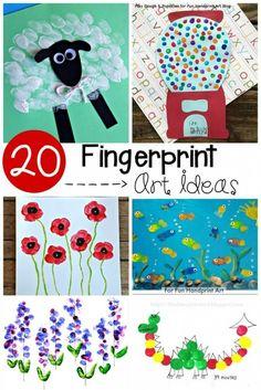 20 Adorable Fingerprint Art Ideas for Preschool! Animal art, flowers, dragons... even transportation art! So many fun ideas for preschool.