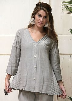 Fenini USA Flax Linen Patch Swing Top A Line Flare Cardi M Medium Linen | eBay