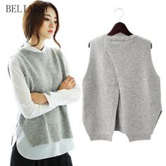 Cheap vest sweater, Buy Quality sweater vest directly from China wool sweater jacket Suppliers: 2017 spring loose big yards female hedging sweater vest sweater vest round neck wool vest waistcoat jacket Loose Sweater, Sweater Coats, Sweater Jacket, Knit Sweaters, Sweater Dresses, Black Cardigan, Pullover Sweaters, Winter Sweaters, Sweaters For Women