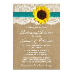 Rustic Sunflower Wedding Rehearsal Dinner - Teal 5x7 Paper Invitation Card