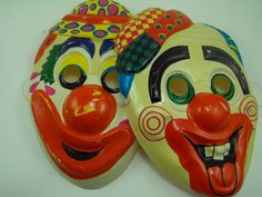 Creepy Clown Mask Two Vintage Halloween Masks
