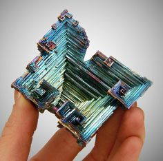Bismuth (lab grown hopper-shaped crystal)