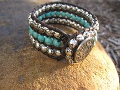 Turquoise and Silver Cuff Bracelet by fleurdesignz on Etsy, $34.00  etsy.com