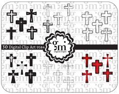 Cross Clip Art, Cross Clipart, Baptism Clipart, Digital Cross, Christening Clipart, Religious Clip Art, Instant Download, Religious Clipart - pinned by pin4etsy.com