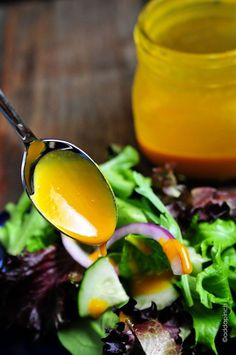 Honey Mustard Dressing Recipe - Great as a dressing or dip, you and your family will love this! You will love knowing exactly what wholesome ingredients are in this! Yum! // ©addapinch.com