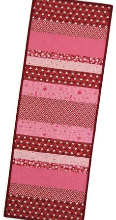 "Quilted Table Runner, Valentine Heart Table Runner, Red Pink White Scrappy Table Mat,  35""x12"", Quiltsy Handmade by VillageQuilts on Etsy"