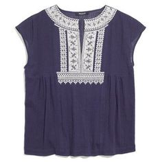 Madewell Embroidered Boho Top in Navy This gorgeous embroidered peasant top from Madewell will look amazing with your favorite pair of white jeans! It's a crinkly cotton in a slightly boxy shape. I love it but it's just a little too short for me. In excellent condition no holes, stains or tears. There are some loose threads (hard to see but shown in picture #4) but no damage to the embroidery. Worn once or twice. Please ask questions before purchase as all sales are final. Madewell Tops…