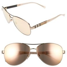 Women's Burberry 59Mm Mirrored Aviator Sunglasses ($240) ❤ liked on Polyvore featuring accessories, eyewear, sunglasses, matte gold, mirrored aviator sunglasses, checkered sunglasses, mirrored glasses, mirror lens sunglasses and mirrored sunglasses