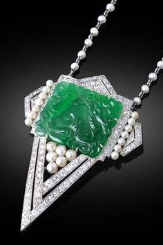 Art Deco Jade, Pearl & Diamond Necklace