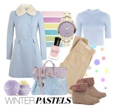 """Winter pastels"" by jaynebrownjewellery ❤ liked on Polyvore featuring Topshop, AG Adriano Goldschmied, Cougar, Unitex International, Miss Selfridge, Deborah Lippmann, Secret PonPon and Eos"