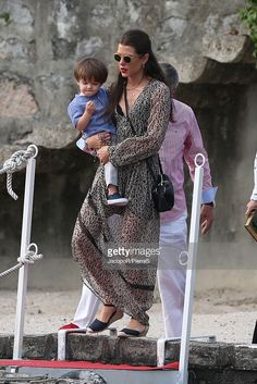 Charlotte Casiraghi wearing a Zara dress, Gucci bag and Edwardson eyewear sunglasses