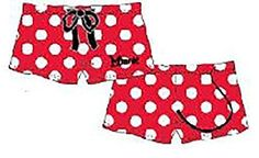 Disney Classic Minnie Mouse Women Pajama Boxer Shorts -Polka Dots and Tail - Red