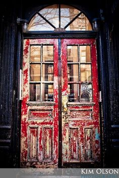 Red Weathered Doors...Love these!
