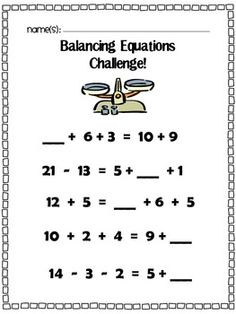Balancing Equations: Missing Addend, Addition, & Subtracti