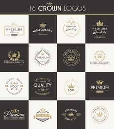 16 vector crown logos. Free download.