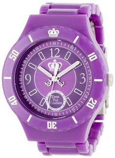 Juicy Couture Women's 1900813 Taylor Purple Plastic Bracelet Watch Juicy Couture. $100.00. Purple dial. Water-resistant to 99 feet (30 M). Oversized purple plastic case. Arabic number markers; Chunky purple plastic bracelet. Stainless steel clasp. Save 33%!
