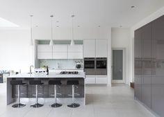 Gloss white and grey kitchens White Gloss Kitchen, Gray And White Kitchen, Kitchen Interior, Kitchen Decor, Contemporary Kitchen Design, Grey Kitchens, Kitchen Collection, Bespoke Furniture, Beautiful Kitchens